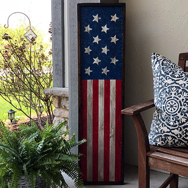 Framed Flag - 14x50 Wood Sign