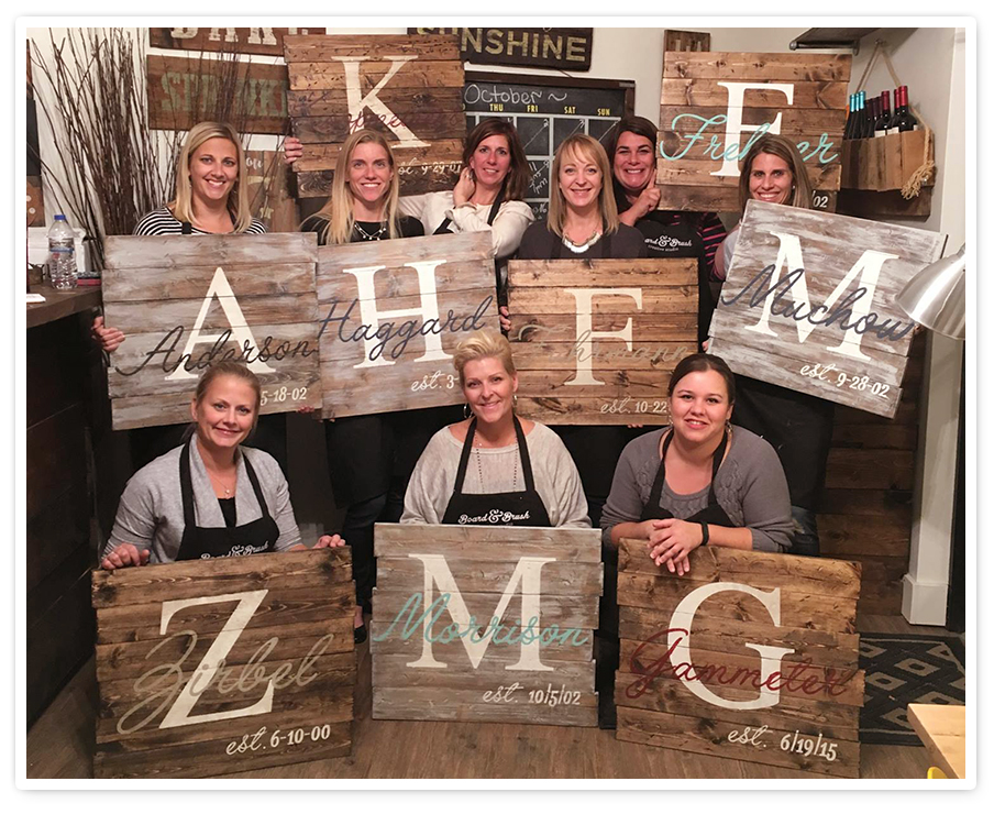 Personalized Wood Signs Design With Wine And Paint At Board And Brush