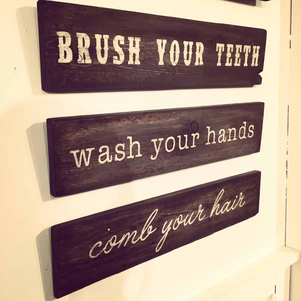 Funny bathroom signs for cleanliness - Wooden Bathroom Sign Trio 6 24 Wooden Bathroom Sign Trio 6x24 Board And Brush