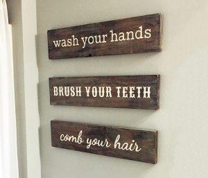 Bathroom Trio Wood Sign