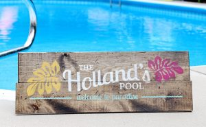 Wooden Pool Signs