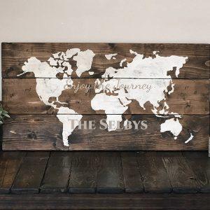 World Map Wooden Sign - Wood Sign Class