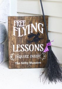 Halloween Flying Lessons Sign