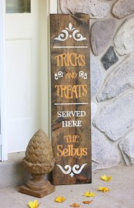Trick and Treat Wooden Halloween Sign