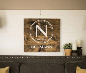 Modern Monogram Wooden Signs