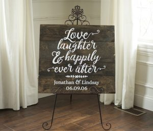Wedding - Love and Laughter Wood Sign