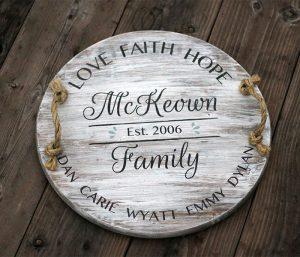 Love, Faith, Hope Wooden Family Sign