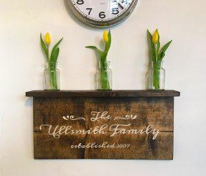 Family Established Wooden Shelf