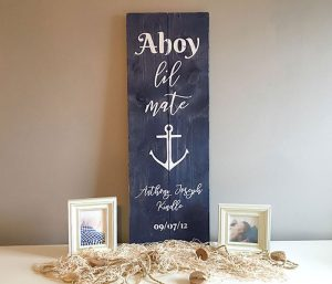 Ahoy Wooden Birth Announcement Sign