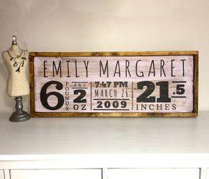 Child Birth Announcement Wooden sign