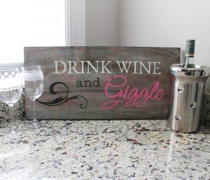 Drink Wine Wood Bar Sign