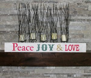 Peace, Joy and Love Wood Sign