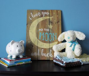 Love to Moon and Back Wooden Sign