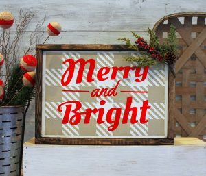 Merry & Bright Plaid Wood Sign