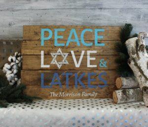 Peace, Love, & Latkes Wood Sign