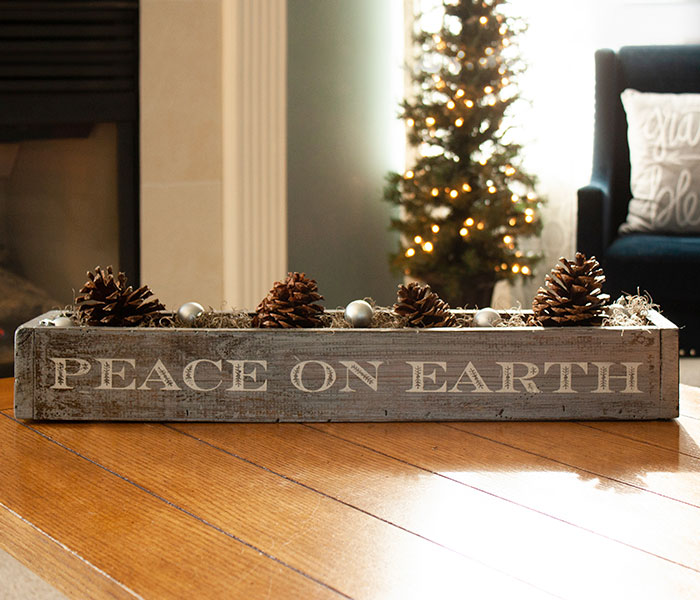 christmas peace on earth succulent box 6x24x4 board and brush