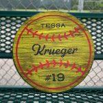 "Classic Softball - 18"" Round Wood Sign"