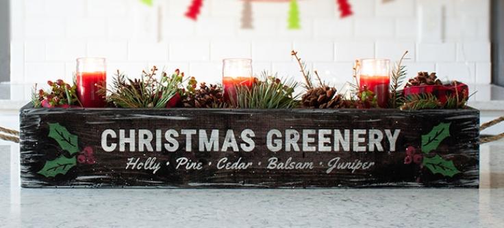 Christmas Greenery Centerpieces.Christmas Greenery Centerpiece Box 32x6x8 Board And Brush